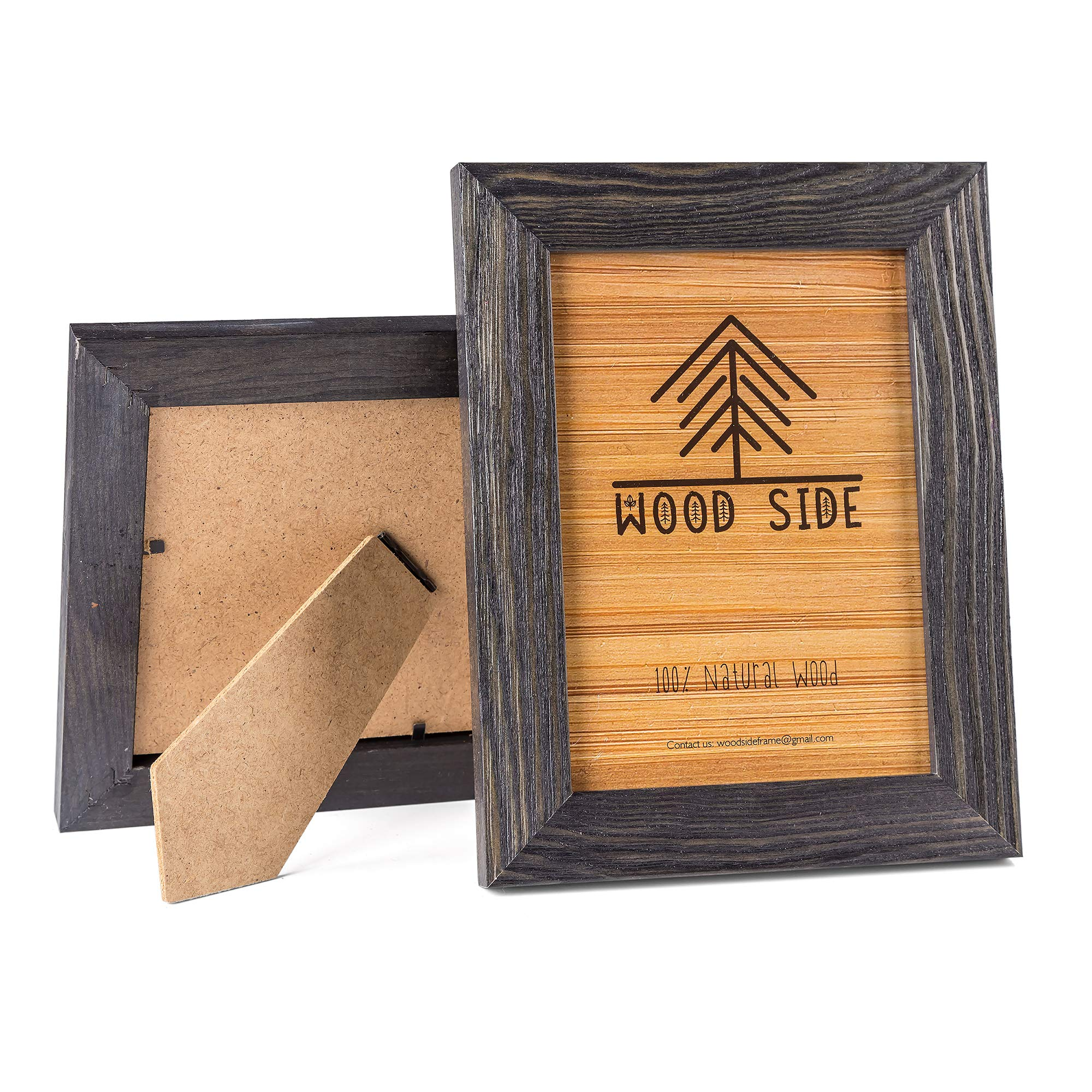 Rustic Wooden Picture Frame 5x7 Inch - Set of 2-100% Natural Eco Distressed Wood - Real Glass - Made for Wall and Table Top Display - Dark Grey by Wood Side