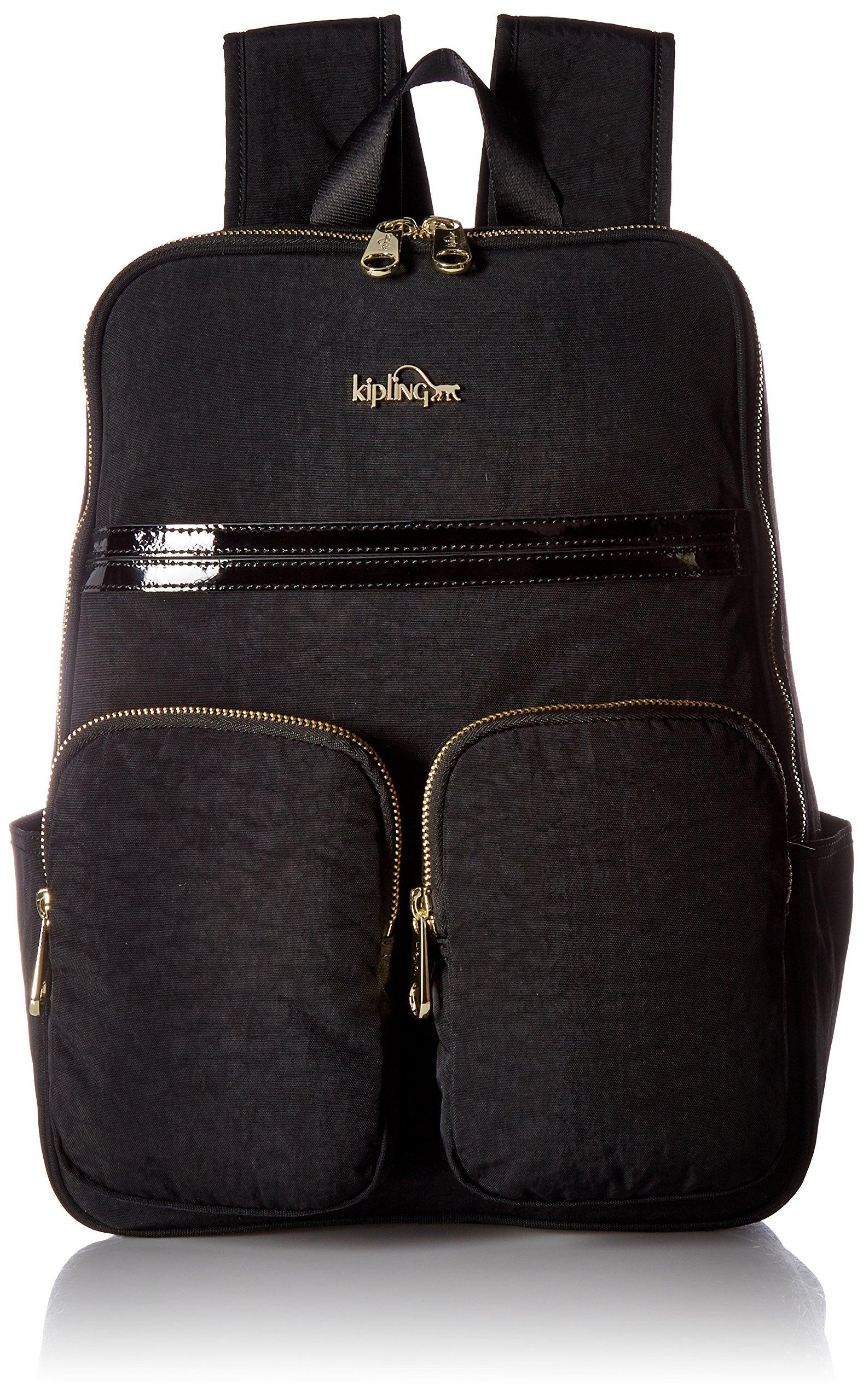 Kipling Sandra Black Patent Combo Laptop Backpack, BLKPNTCMBO