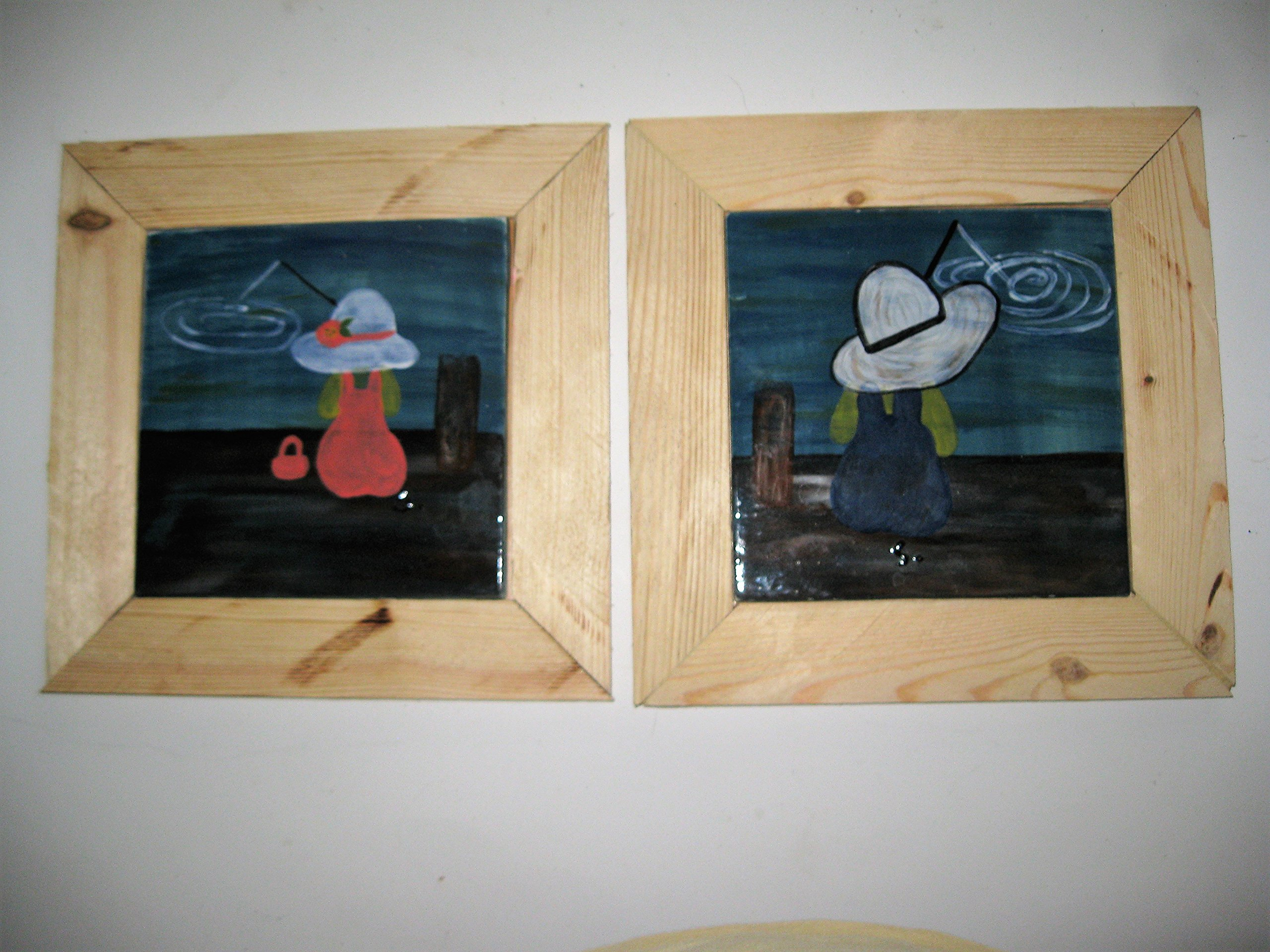 USA 2 hand painted pictures of children fishing on ceramic tiles and framed in reclaimed natural wood