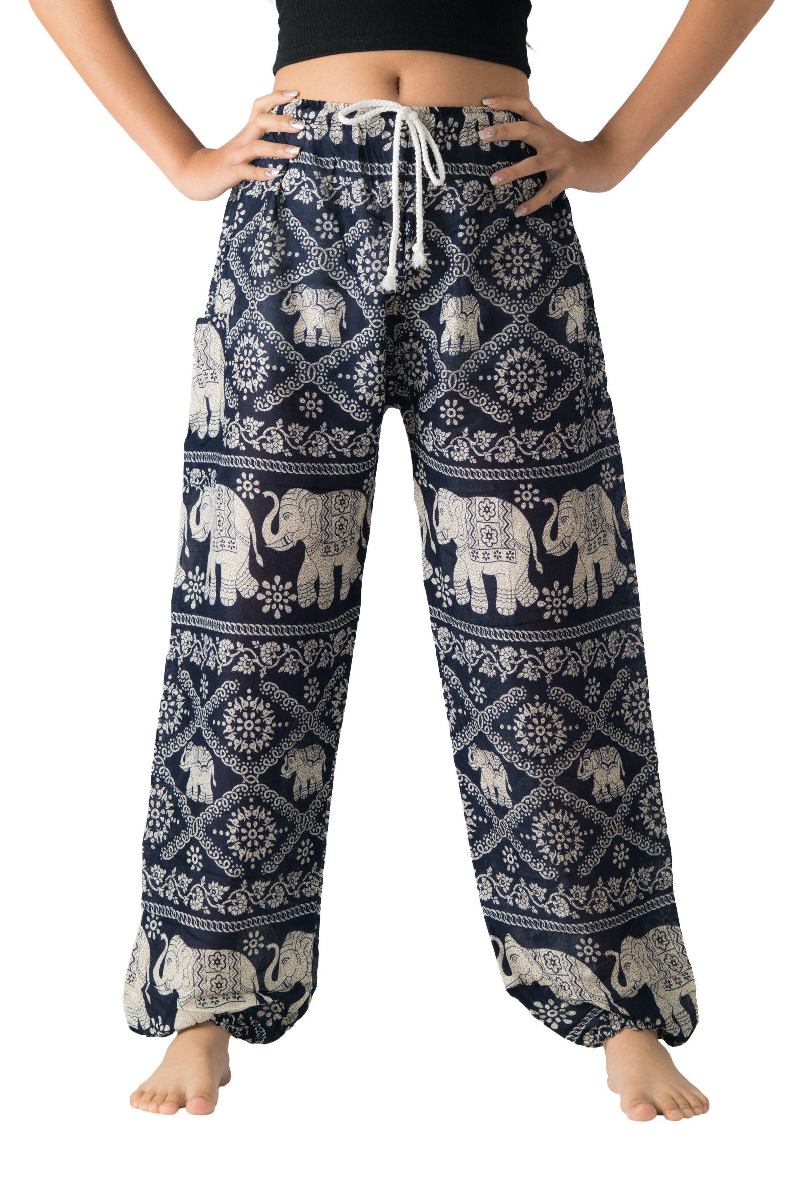 Bangkokpants Hippie Boho Pants Bohemian Unisex One Size US Size 0-12 (Blue Big Elephants)