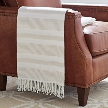 Stone & Beam Striped Throw Blanket, Soft and Easy Care, 80  x 60 , Fringed, Natural
