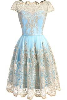 DRESSTELLS Vintage Floral Embroidered Lace Cocktail Maxi Dress with Cap-Sleeves