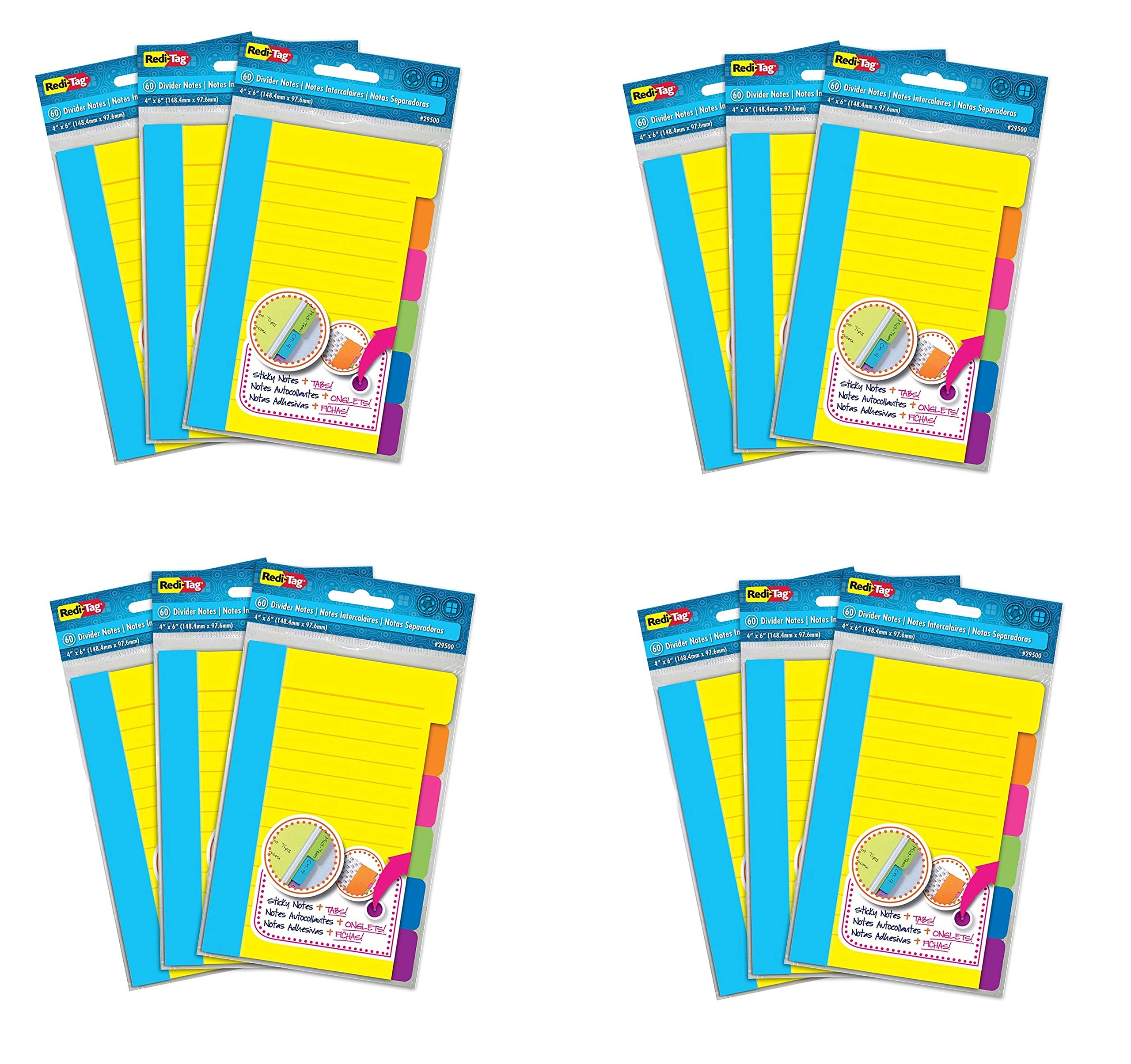 Redi-Tag Divider Sticky Notes, 60 Ruled Notes per Pack, 4'' x 6'', Assorted Neon Colors, Sold as 12 Pack