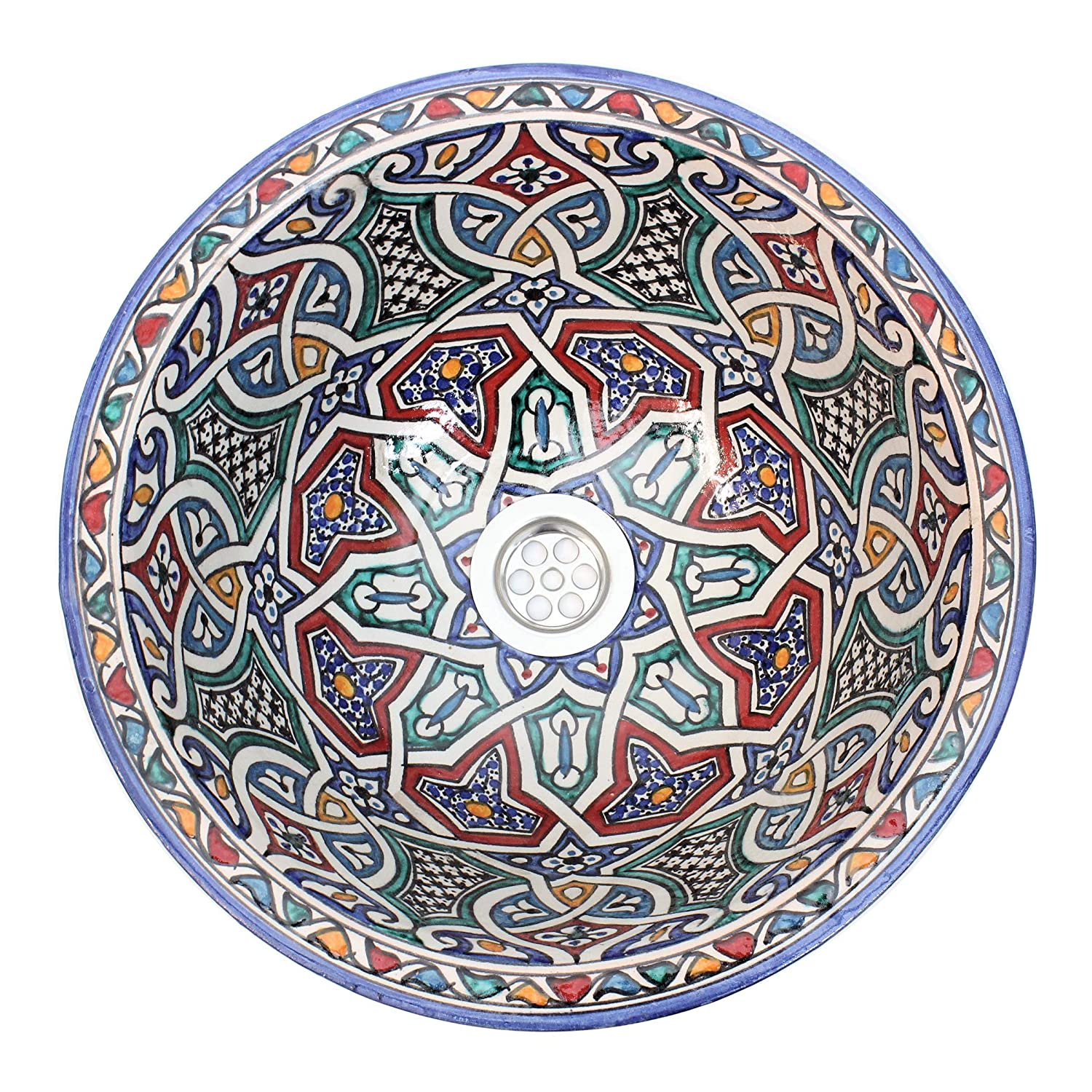 ESSENCE OF MOROCCO Moroccan Wash Basin Washbasin Sink Ceramic Handmade Hand Painted Multicoloured Round 35cm. 13.8'' Free waste included. (Ref. SW302)