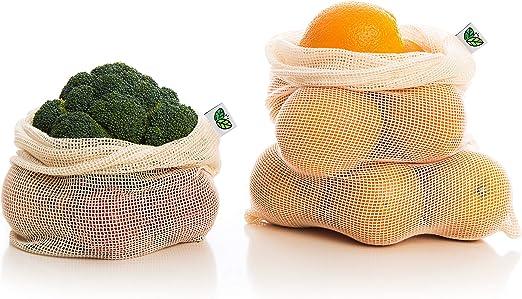 AdiósPlástico: Bolsas Reutilizables Livianas 100% de Algodón Biodegradables Ecológicas para Frutas y Verduras (18, 12*M / 6*G): Amazon.es: Hogar