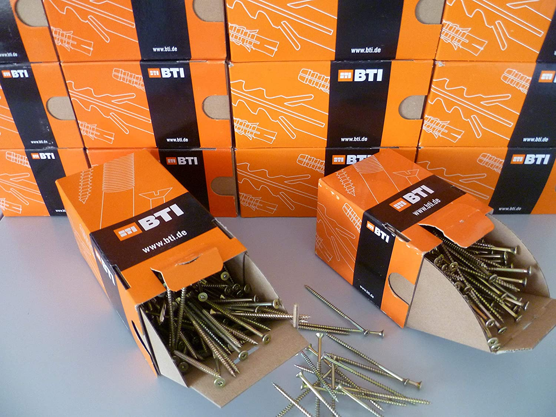 BTI Vis Torx /à t/ête frais/ée en acier jaune galvanis/é avec filetage partiel Vis /à bois et /à panneaux d/'agglom/ér/é