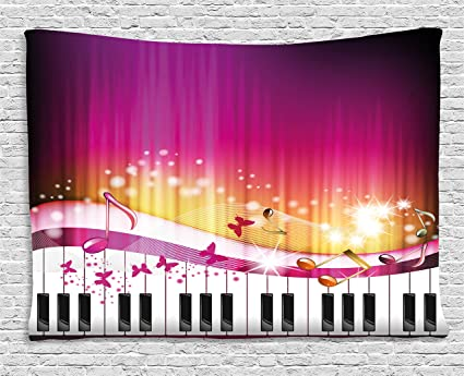 Amazon.com: Ambesonne Abstract Tapestry by, Piano Keys with ...