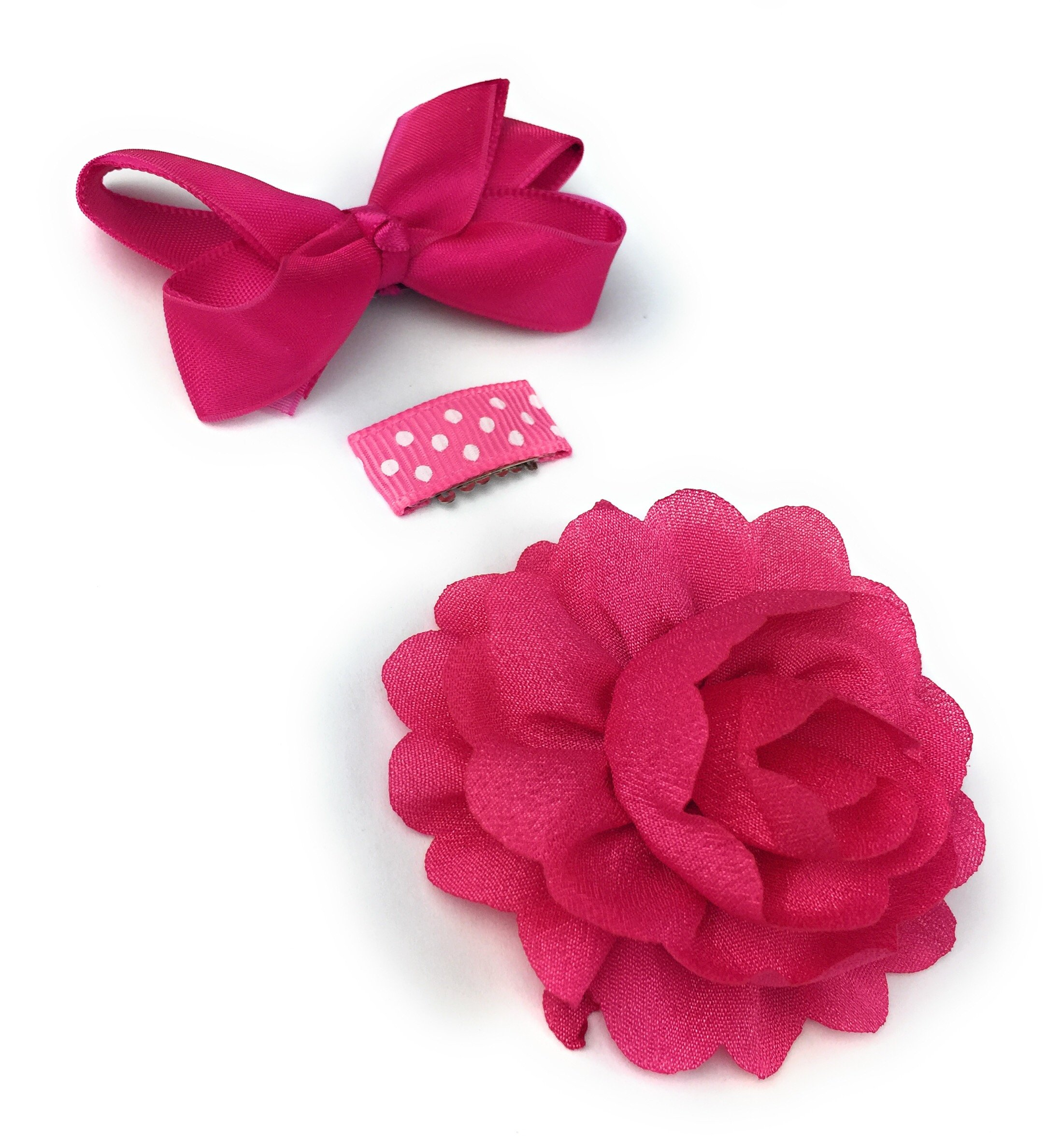 Baby Wisp Mini Latch Clip Satin Boutique Bow Grosgrain Ribbon Clip Flower Accessory Baby Girl Gift Set (Fuchsia) by Baby Wisp (Image #9)