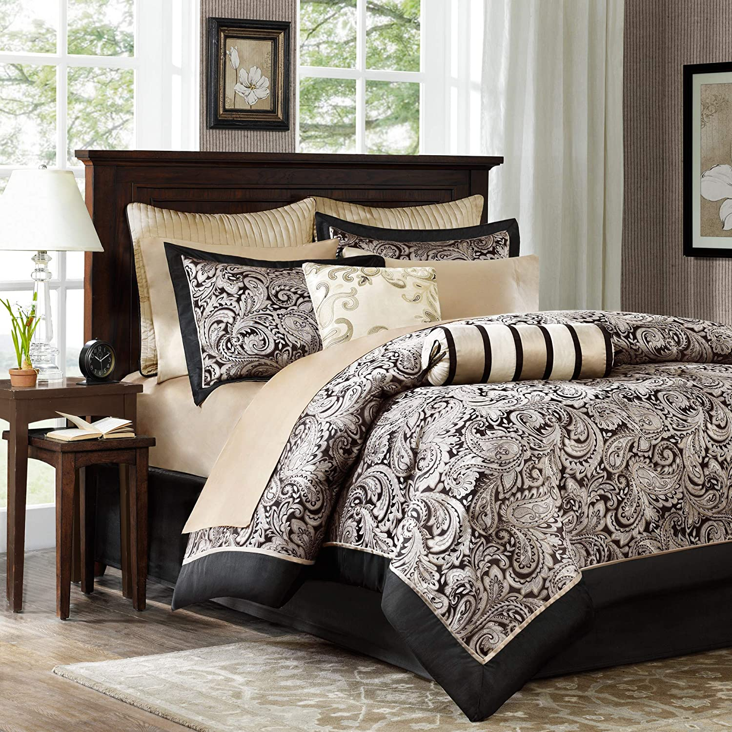Madison Park Aubrey Queen Size Bed Comforter Set Bed In A Bag - Black, Champagne , Paisley Jacquard – 12 Pieces Bedding Sets – Ultra Soft Microfiber Bedroom Comforters: Home & Kitchen