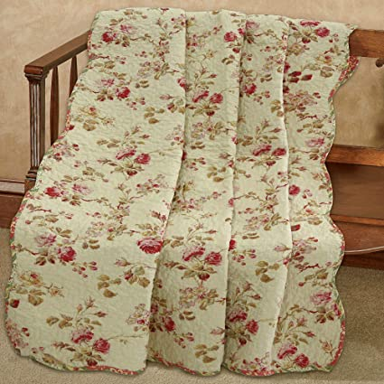 Cozy Line Home Fashions Creamy Vintage Rose Floral Printed Reversible 100% Cotton Quilted Throw Blanket