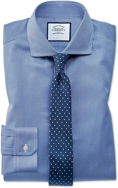 Camisa Azul Real superentallado con Diseã±o Micro Pata de ...