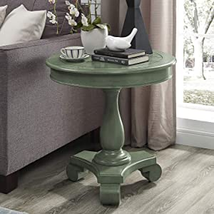 Best Master Furniture Transitional Antique Round End Table Teal