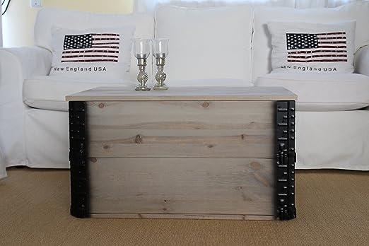 Mesa de centro tipo baúl, caja de madera, mesa auxiliar vintage ...