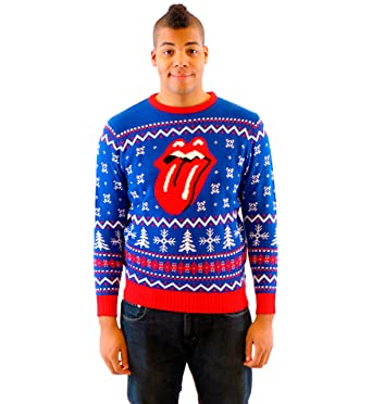 rolling stones classic tongue royal blue ugly christmas sweater adult small - Adult Ugly Christmas Sweater