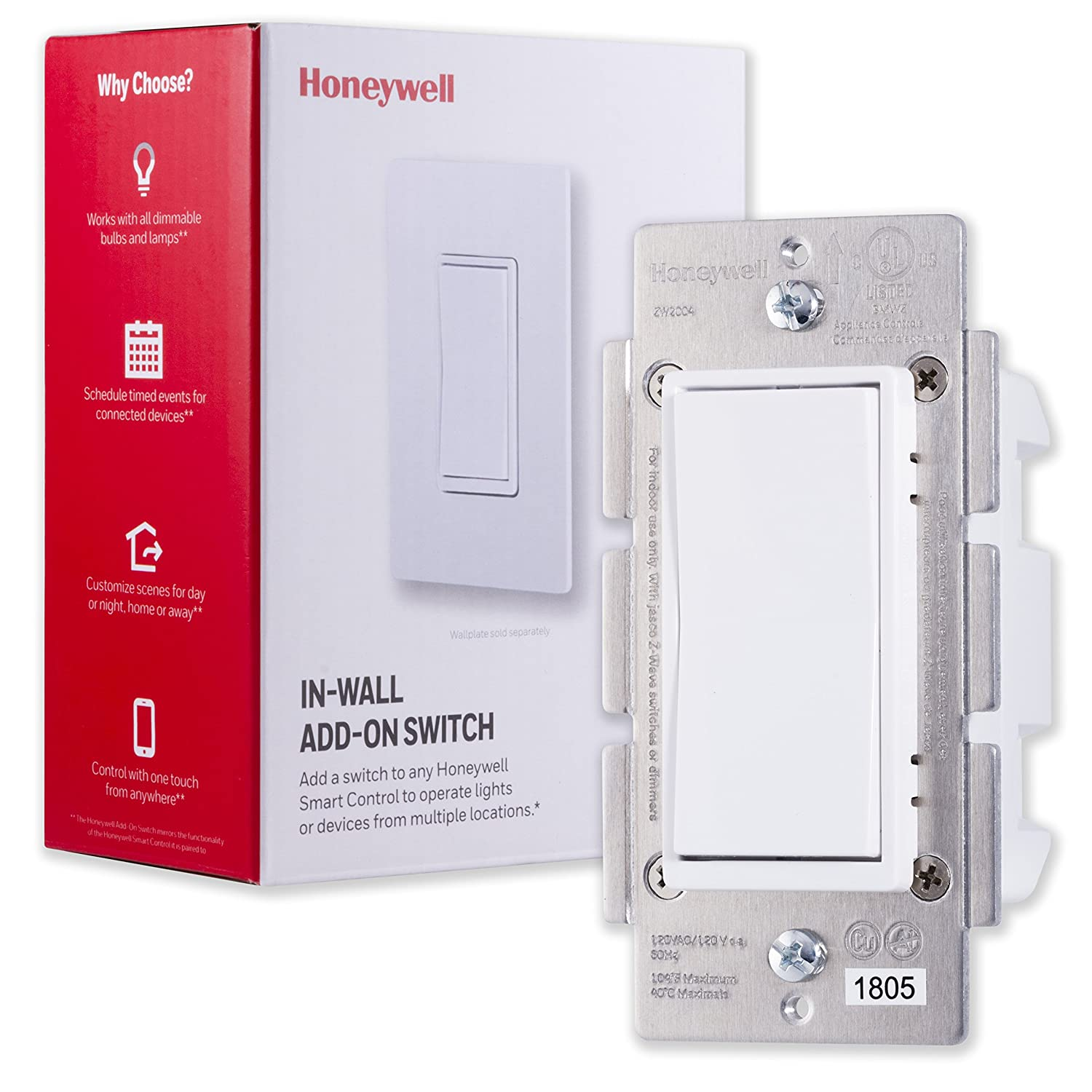 Honeywell Add-On In-Wall Paddle Switch only for Honeywell Z-Wave Smart Lighting Controls | NOT A STANDALONE SWITCH |White & Almond Paddles |for 3 4 & 5-Way Multi-Location Installations, 39350