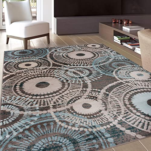 Rugshop Circles Area Rug 9 x 12 Brown