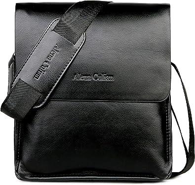 Black Casual Men Leather Handbag Tote Briefcase Business Messenger Bags