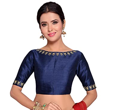 612e098df6e Studio Shringaar Women s Poly Raw Silk Embroidered Saree Blouse (Navy Blue