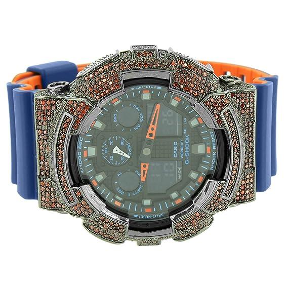 G-Shock GSHOCK ga100l-2 a reloj Iced Out Custom naranja azul resina banda analógico hombres: Amazon.es: Relojes
