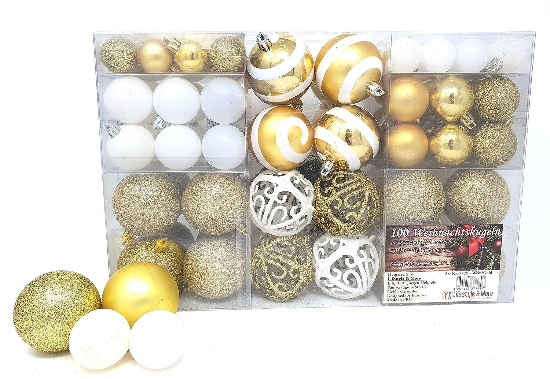 100 palle di Natale 2 colorate di bianco e oro Adatto con gancio Glittering lucido Matt Decorazioni per albero di Natale Sfere per albero di Natale fino a Ø 6 cm Decorazione albero Decorazione natalizia Lifestyle & More