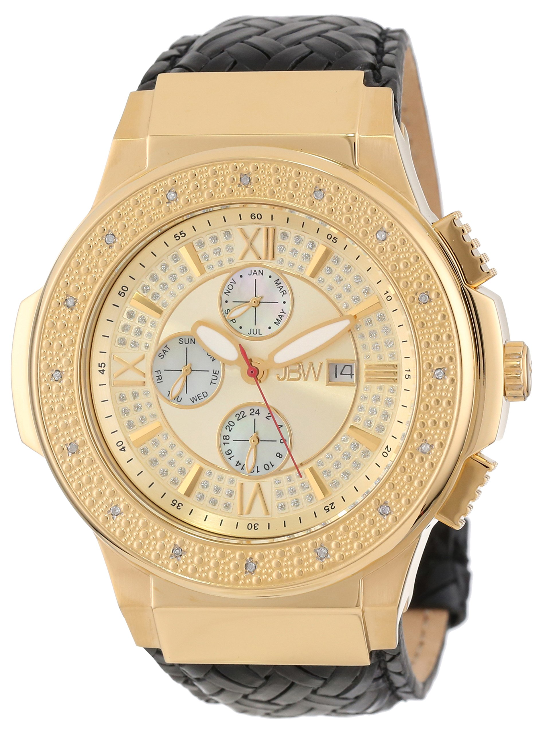 "Jbw Men's Jb-6101L-J ""Saxon"" Gold Braided Leather Diamond Watch 8"