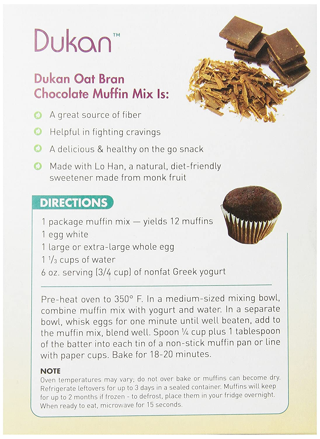 Dukan Diet Oat Bran Muffin Mix, Chocolate, 10 Ounce: Amazon.es: Alimentación y bebidas