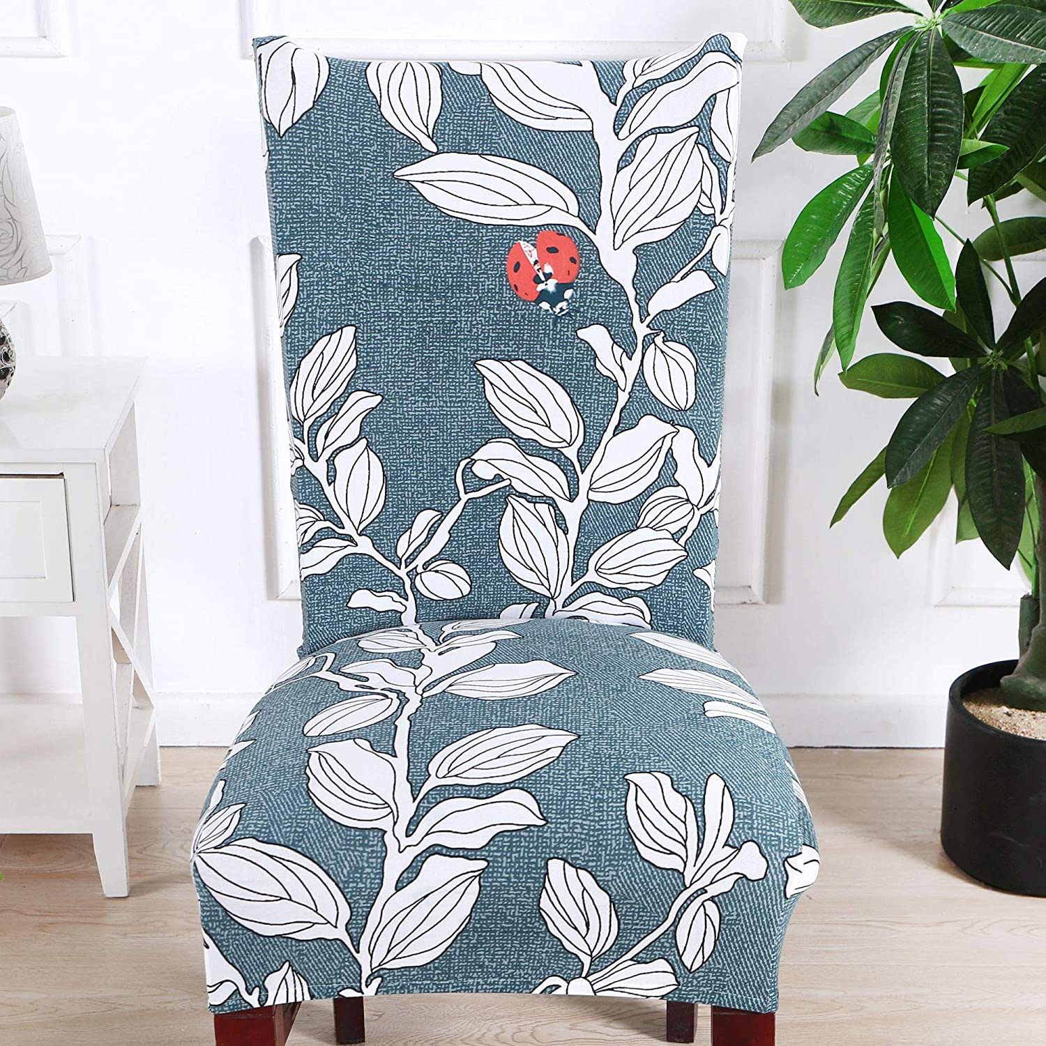SoulFeel 6 x Soft Spandex Fit Stretch Short Dining Room Covers with Printed Pattern Pack of 6 Style 24 B06 Banquet Chair Seat Protector Slipcover for Home Party Hotel Wedding Ceremony