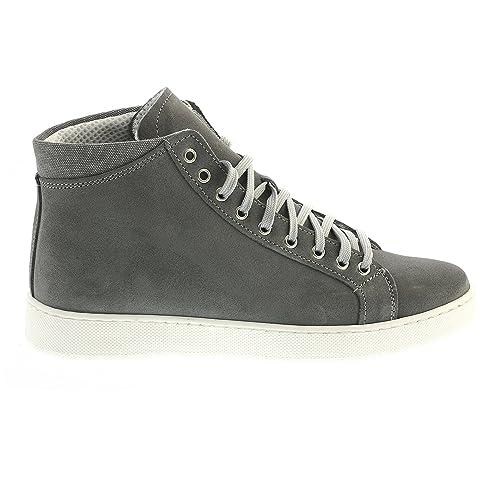 eSprez Scarpe Sneakers Uomo Stivaletto Alte Casual Stringhe CAMOSCIO Grigio  Moda (41) a0a2ecc318b