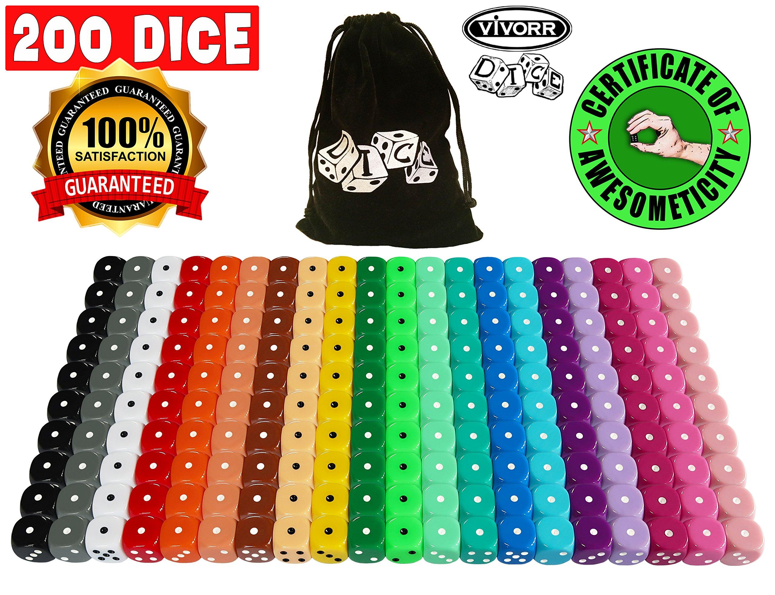 Vivorr Premium Dice Set of 200 Pieces, 20 Colors, 10 of Each Color, 16mm, D6, c/w Velvet Carry Bag / Pouch, Perfect for: Tenzi, Farkle, Yahtzee, Bunco, Board Games, Casino or Teaching Math. Ideal Gift