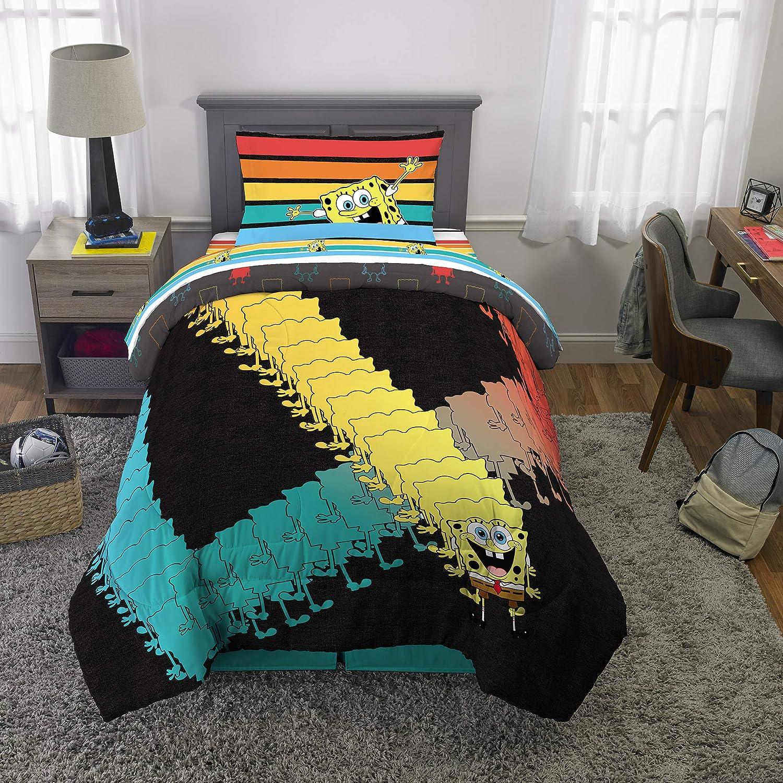Franco Kids Bedding Super Soft Microfiber Comforter and Sheet Set, 4 Piece Twin Size, Spongebob
