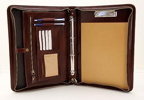 acquisto economico 5586b 2dd6b Cartella portadocumenti A4, in pelle italiana, raccoglitore ad anelli A4,  Portablocco con manico Brown