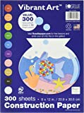 Roselle's 9x12 Vibrant Art Heavyweight 300 Sheets Assorted Construction Paper Value Pack (01300)