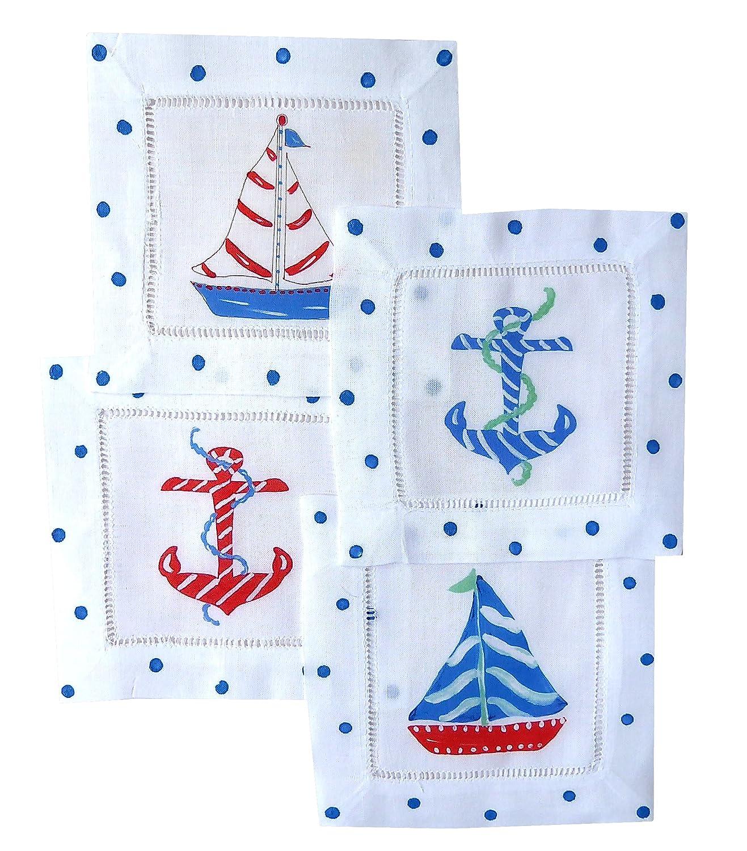Nautical Linen Cocktail Napkins
