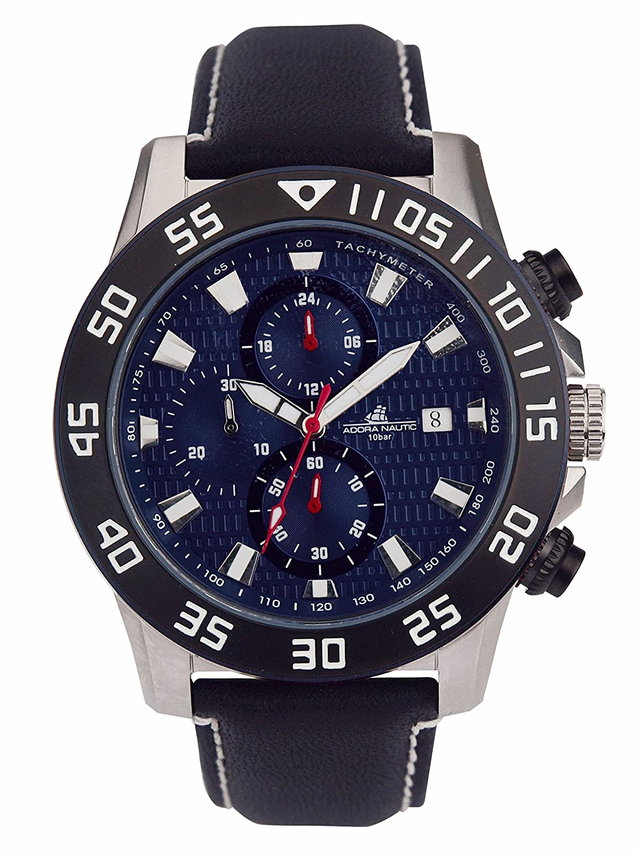 Adora Nautic Reloj de hombre con cinta de piel 47 mm Chrono 10 ATM an2043: Amazon.es: Relojes