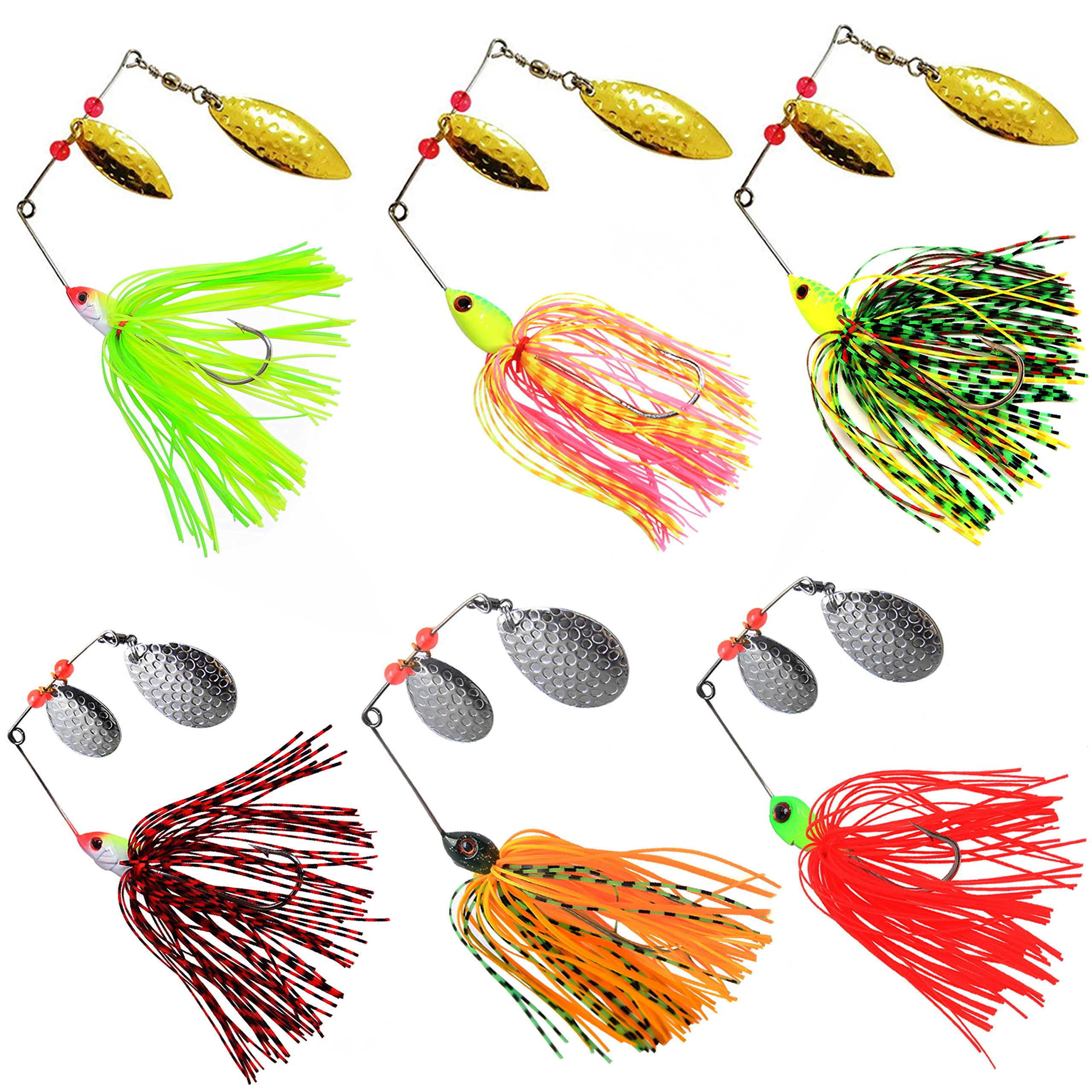 Fishing Spinner Baits Kit Hard Metal Spinnerbait Jig Lure Kit Bass Pike (6pcs Spinner Baits) by Shaddock Fishing