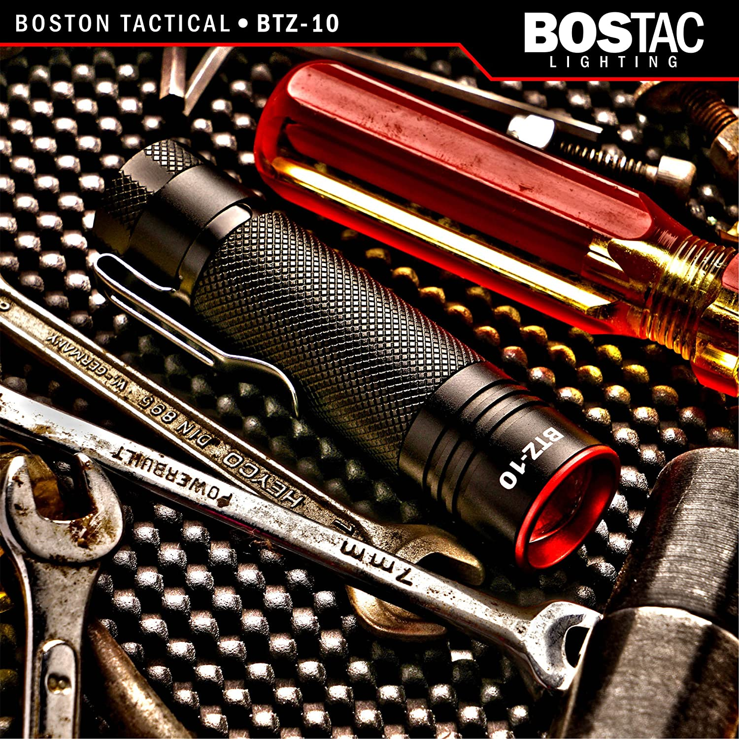 BOSTACTM BTZ-10 Tactical Flashlight - Penlight by Boston Tactical with Tiny High-Powered CREE USA LED Bulb, 900 Effective Lumens, Mini Zoom Head, ...