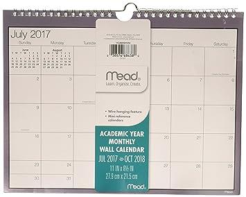 Calendar October 2017-January 2019 Mead Academic Monthly Wall Calendar, July 2017   January 2019, 8 1