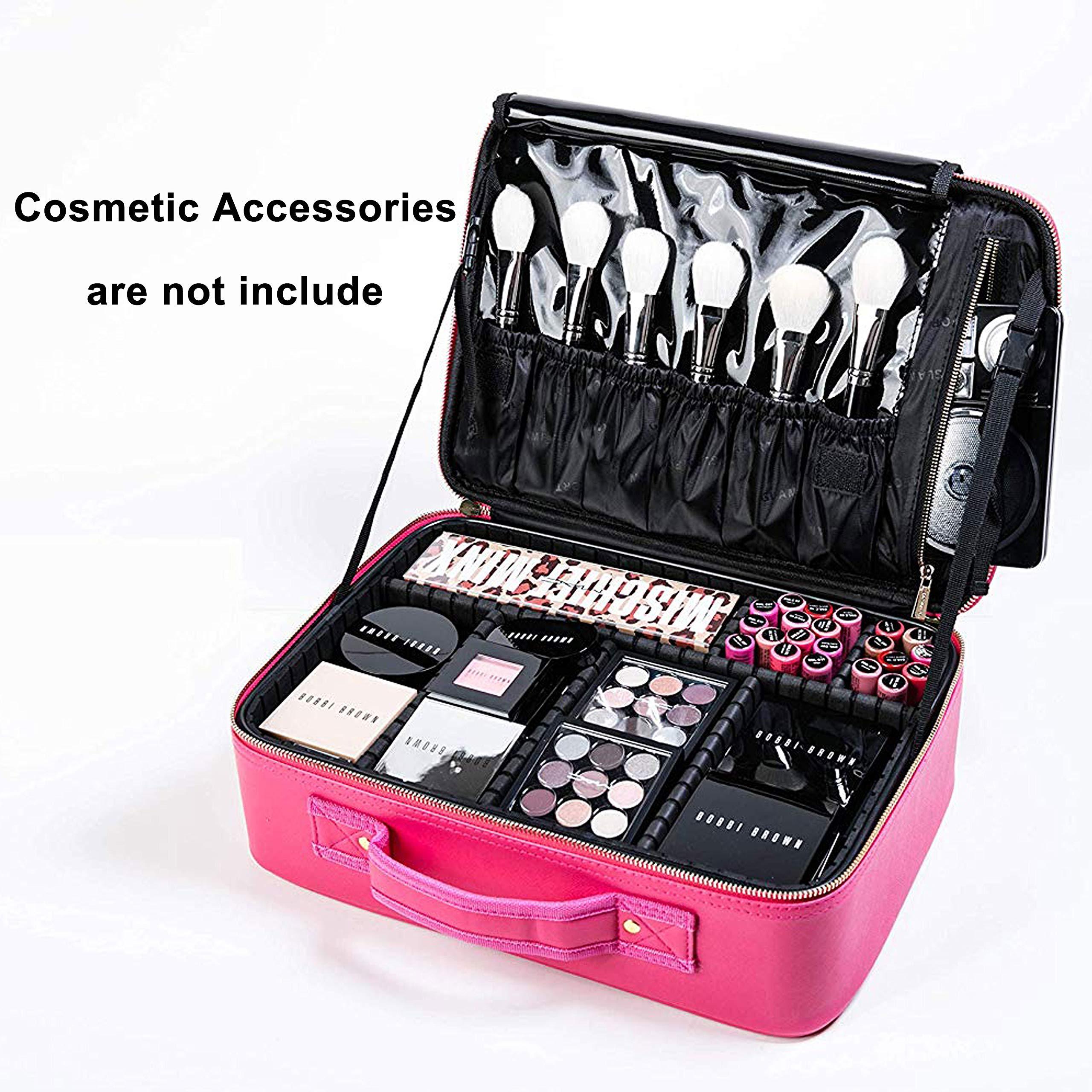 cbfe1dbb21cb ROWNYEON Makeup Case Travel Makeup Bag Makeup Organizers Bag Makeup Train  Case Professional Portable Cosmetic Bag