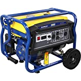 GENPAR Portable Power Generator set with 4000-watts Peak 3000-w Continuous Gas powered Recoil start Wheels 120/220-Volts 60-hz EPA CARB certified 7-HP engine 208cc Outlet 120/220-V Volt Gauge Breaker