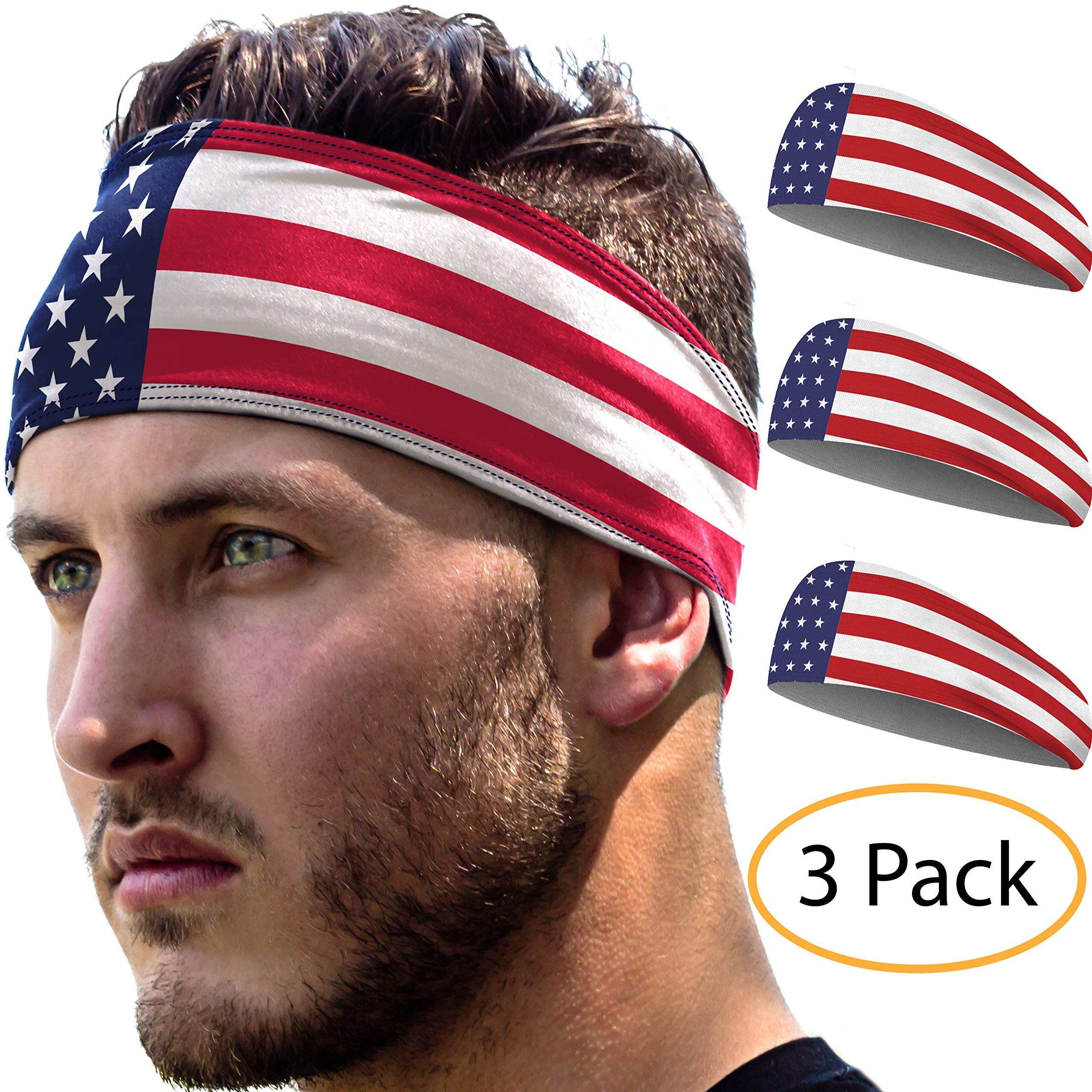 Sports Headbands 3 Pack: Unisex Fitness Headbands for Women & Men. Head Band Sweatband for Running, Yoga, Workout Gym Exercise. NO Slip Sport Sweatbands & Sweat Wicking Athletic Head Wrap Bands by E Tronic Edge