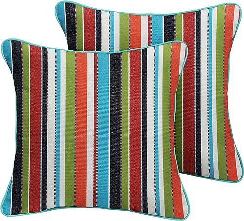 Mozaic Company Sunbrella Indoor Outdoor Corded Pillows, Carousel Confetti and Canvas Aruba, Set of 2