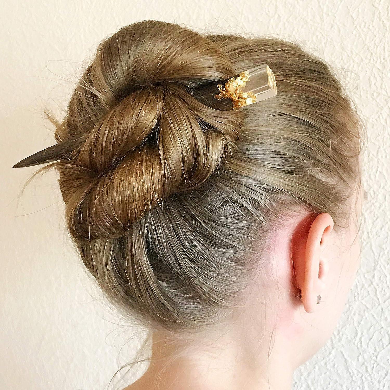 Wood Resin Hair Stick Shell Hair slide Blue Long Hair Holder Resin hair fork Ocean accessories Sea jewelry Summer memory Gift for her