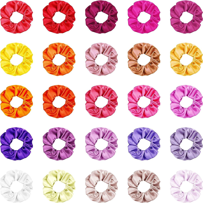 Scrunchies para el Pelo Rasguños de Satén Bandas Elásticas para el pelo Gomas del Pelo para Mujeres y Niñas 25 Colores: Amazon.es: Belleza