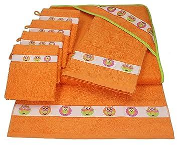 aec68e9ce65 BETZ Juego de 7 Piezas de Toallas para bebés LECHUZAS 100% algodón 1 Toalla  con Capucha 2 Toallas y 4 Manoplas de baño de Color Naranja  Amazon.es   Hogar