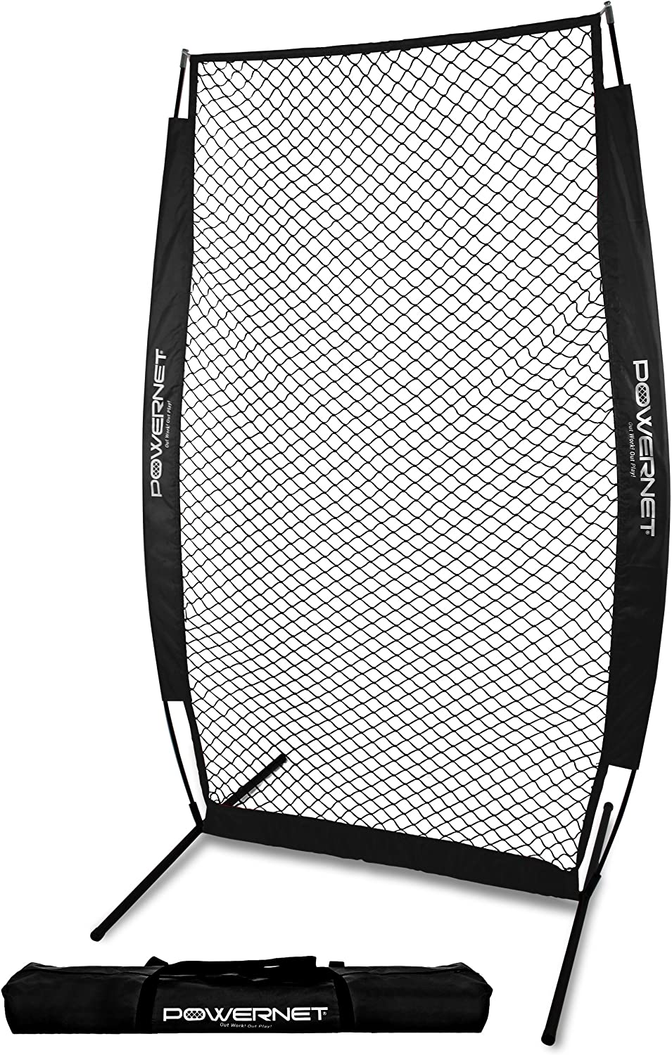 PowerNet I-Screen with Frame and Carry Bag Portable Baseball Pitcher Protection Instant Player and Coach Protector from Line Drives Grounders Heavy Duty Knottless Netting Batting Practice