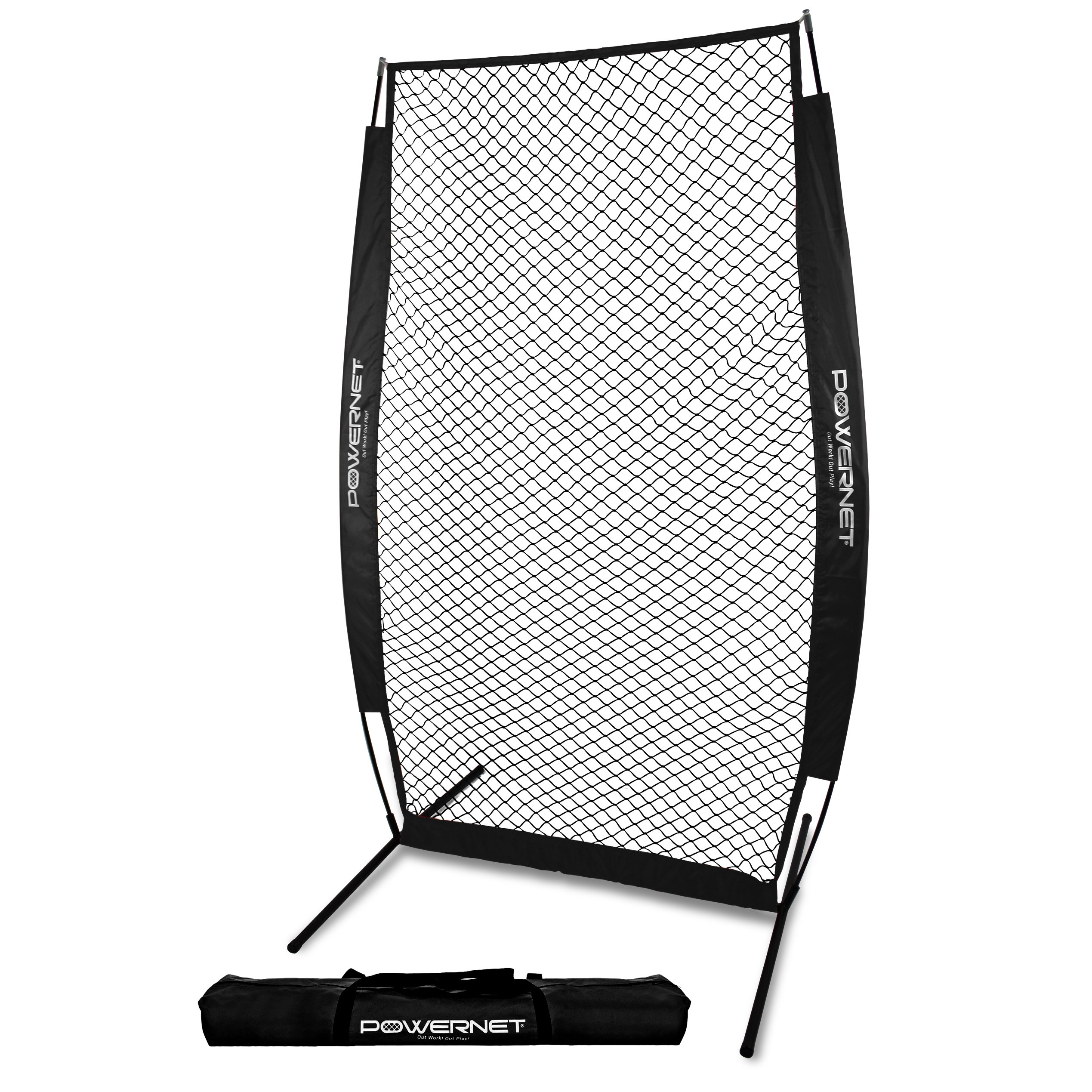 PowerNet I-Screen with Frame and Carry Bag (Black) | Portable Baseball Pitcher Protection at Batting Practice | Instant Player and Coach Protector from Line Drives Grounders | Heavy Duty Netting