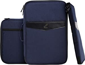 "Lazyaunti Zipper Portfolio Organizer A4 Note Pouch-Waterproof Document Bags/Zipper Binder/Paper Case for 14.5"" Mac,Tablet,Pens,washi Tape,Journals,Sketch Books (Dark Navy Blue)"