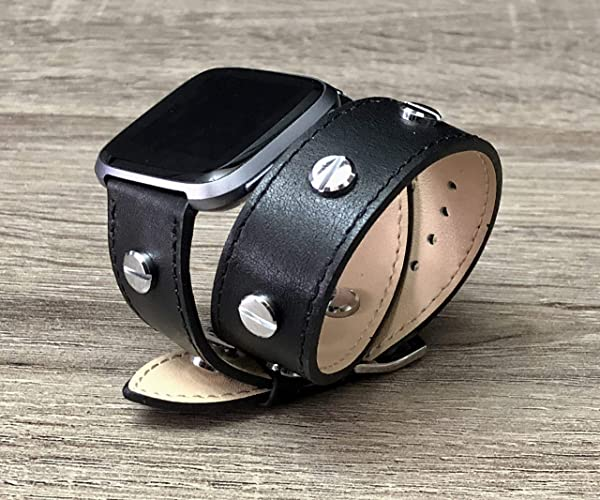 Black Vegan Leather Band For Fitbit Versa Smartwatch Handmade Double Wrap Adjustable Size Fitbit Versa Fitness Watch Bracelet Silver Metal Jewelry ...