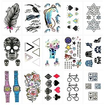 Oottati 15 Hojas Pequeñas Cute Tatuajes Temporales Cráneo Diamante ...