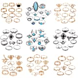 Magitaco 99 Pcs Knuckle Rings for Women Midi Boho Ring Set Aesthetic Punk Hippie Rings Stackable Rings for Women